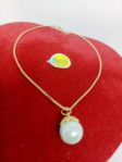 Rhodium Necklace with Shell Pearl Pendulum