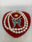 Pearl Necklace with Butterfly Shell Pendant