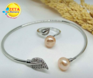 Rhodium Pearl Bracelet and Ring